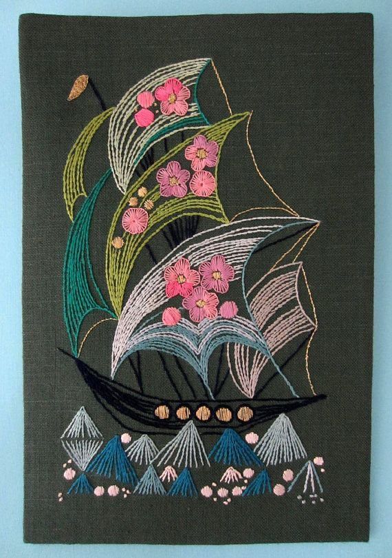 Vintage Swedish Embroidery Wall Art Ship by idahoreds on Etsy