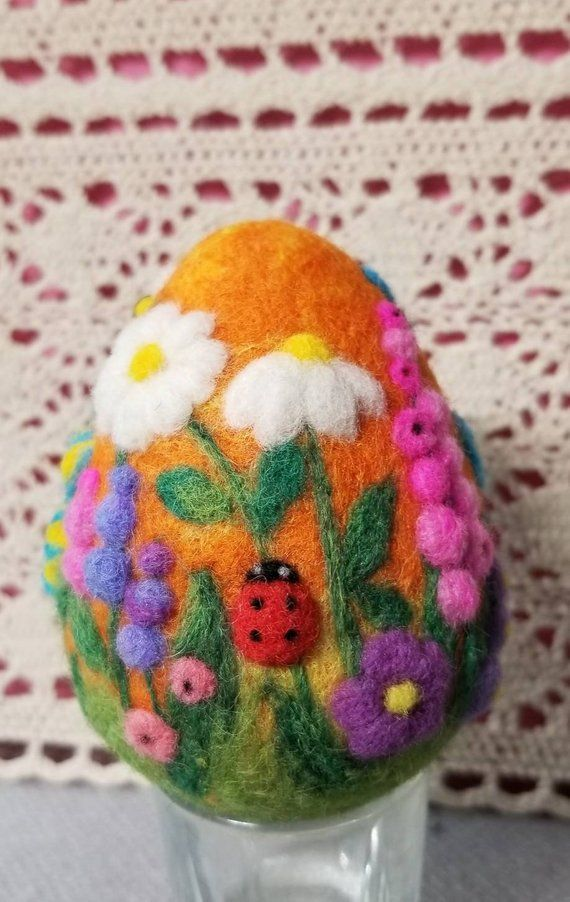 pERFECT GIFT Needle Felted Easter egg - OOAK Easter decoration