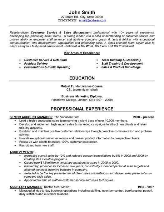 Manager Resume Account Management Resume Exampl Sales Manager