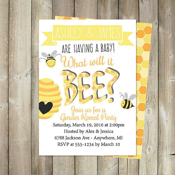 GENDER REVEAL PARTY Bee Theme Gender by FavoriteThingsDesign