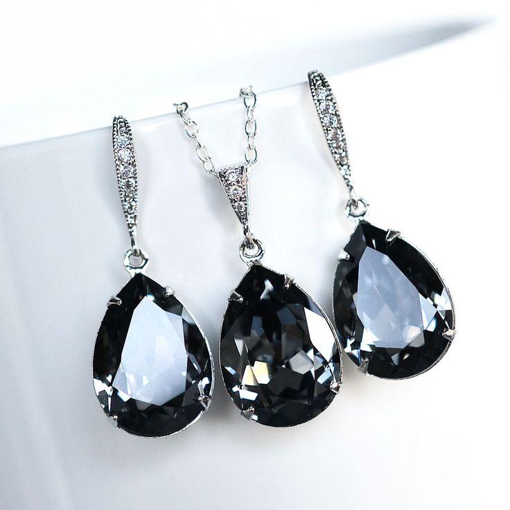 Swarovski Dark Grey Crystal Silver Night Necklace Earrings Set (Sparkle-2224-U)