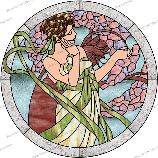 """Alphonse Mucha 4 April 24"""" Stained Glass Pattern  Artist Ruth Green"""
