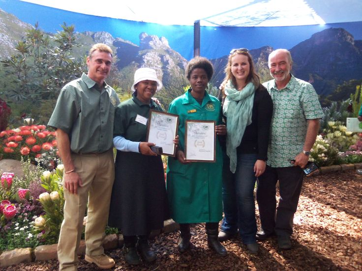 The working team that recreated the SA Kirstenbosch Chelsea flower Show exhibit at Garden World, Johannesburg. South Africa won Gold at Chelsea in London for the 33rd time.