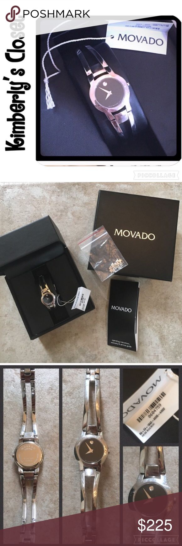 ❤MOVADO AMOROSA WATCH❤ Model #0604759 Women's 100% AUTHENTIC MOVADO Amorosa watch, 24 mm stainless steel case, black Museum dial with silver-toned dot and hands, stainless steel double-bar bangle-style bracelet with back sizing links and jewelry clasp.  Original box, booklet, tag (with model #) and extra links that were removed are included.  Band and silver around face have many small scuffs and scratches from light wear (see photos). Movado Accessories Watches