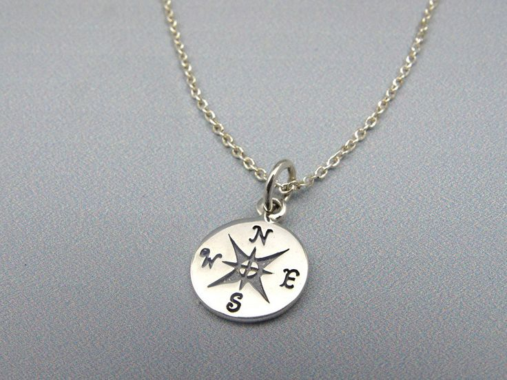 Compass Necklace Sterling Silver Jewelry Graduation Gift for Best Friend Long Distance Friendship Necklace, Minimalist Necklace for Sister