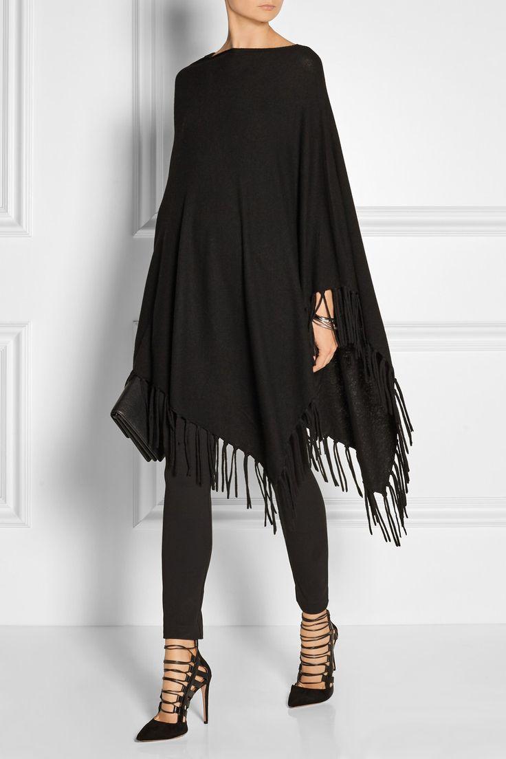 DKNY | Asymmetric fringed knitted poncho | NET-A-PORTER.COM