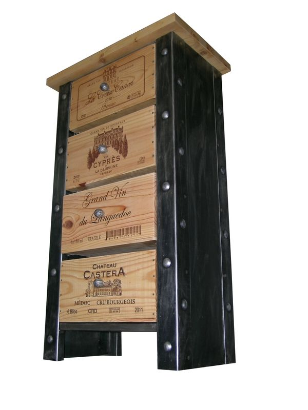 Incredibly unique industrial-style wine crate shelving unit