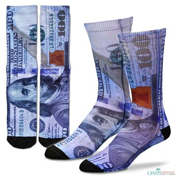American Dollar sublimated print socks:  Buy American dollar sublimated print wholesale #socks at cheap rate from the reputed manufacturer in #USA, Oasis Sublimation.