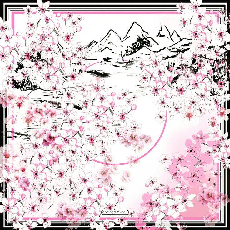 Kyiomi silk scarf,  Sakura fest.