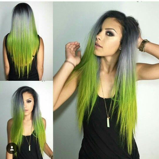 Silver green hair ombre