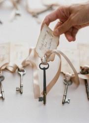 Skeleton Key Escort Cards for Secret Garden Theme Wedding