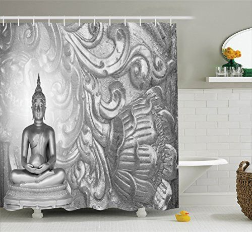 Grey Shower Curtain Set Asian Decor By Ambesonne, Statue on Silver Ornamental Background Ancient Old Oriental Culture Monochromatic Art Decor, Bathroom Accessories, 69W X 70L Inches, Grey