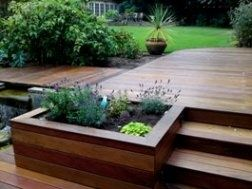 merbau timber decking, stairs and planter box.