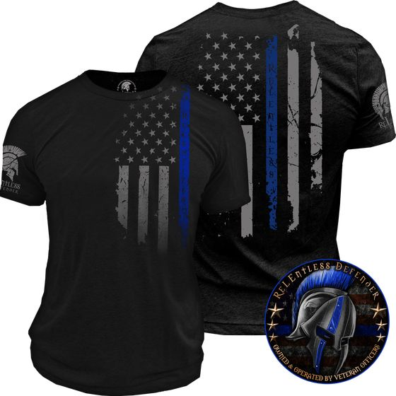 oath, relentless defender, thin blue line, shirt, men, police shirt, police flag