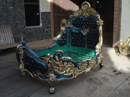 Rococo Bed | Rococo Bedroom Furniture | Custom Hand Made Bedroom Furniture | Solid Wood | Mahogany | Teak | Pine