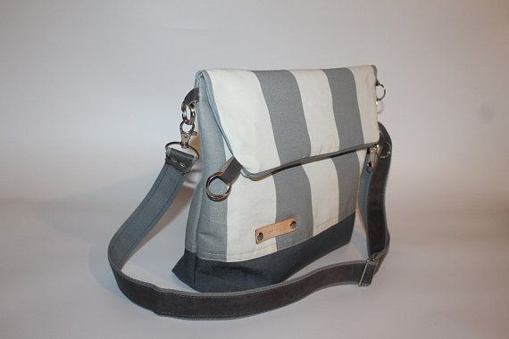 Fold over bag gray canvas  tote Unisex cross body bag by BYildi