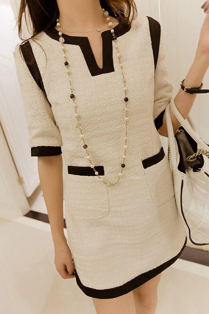 Elegant Scoop Neck Color Block Pocket Embellished 1/2 Sleeve Women's Dress (WHITE,M) | Sammydress.com