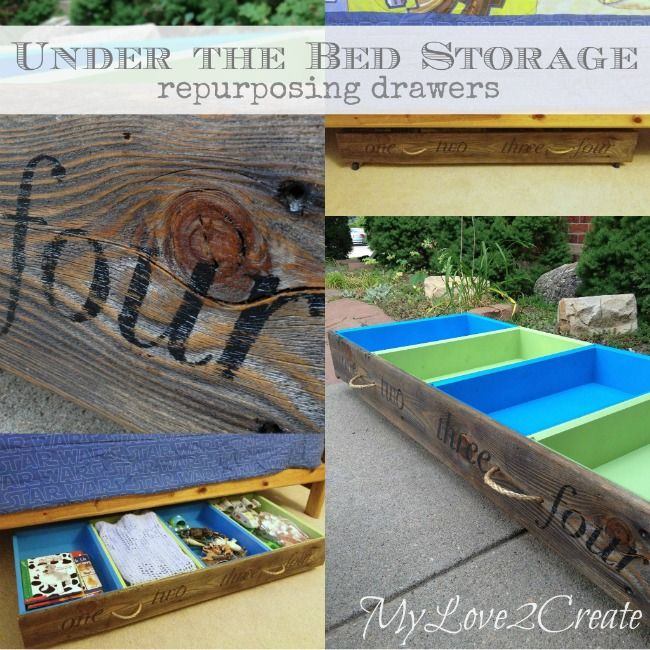 Under the bed storage, repurposing drawers