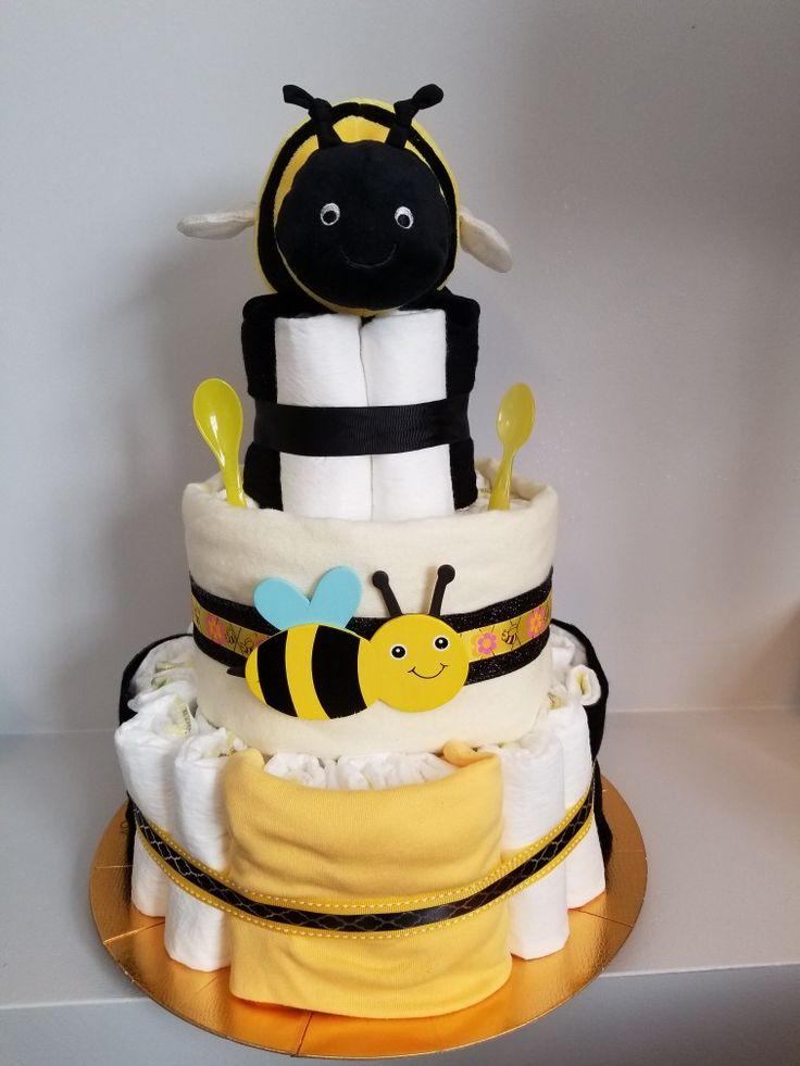 Bumble bee diaper cake  Www.facebokk.com/hushlittlebabycakes