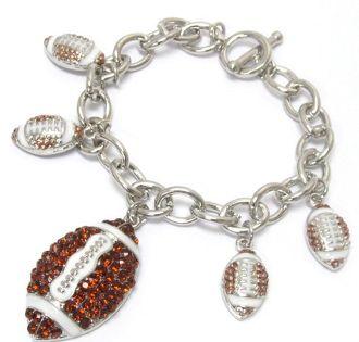 Silvertone Toggle Bracelet with rhinestone embellished football charms