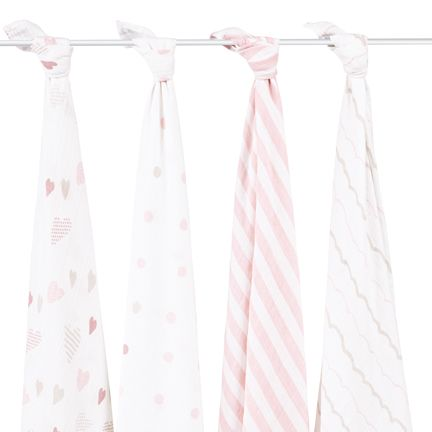 """The muslin swaddle blanket that started it all, our aden + anais original,  award-winning single-layer 100% cotton muslin swaddles are the ultimate in  quality, breathability and versatility.      * Four 47"""" x 47"""" pre-washed 100% cotton muslin swaddles     * Breathable: helps reduce the risk of overheating     * Generous Size: makes swaddling easy     * Comfy: gets softer with every wash     * Versatile: works as a stroller or nursing cover, changing pad cover,       burp cloth, tummy time…"""