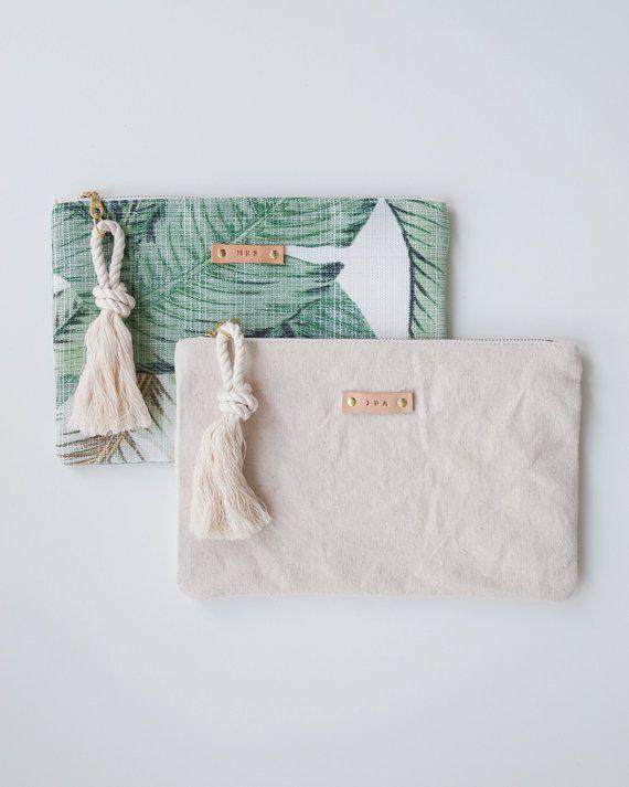Palm Print Zipper Pouch Monogram Makeup Bag by theAtlanticOcean