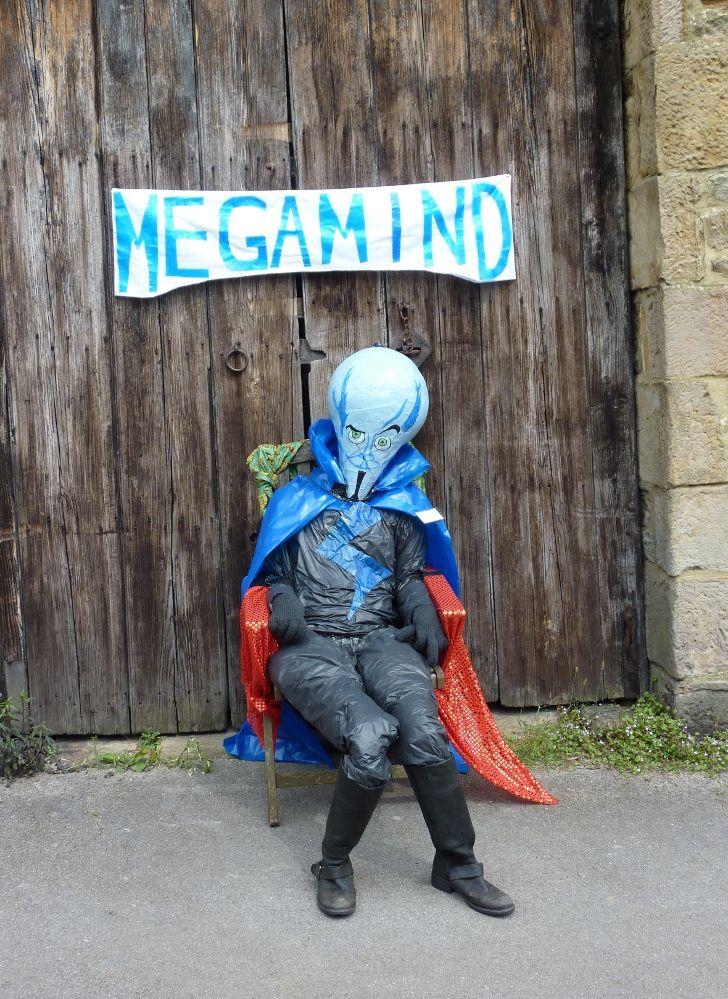 Animated superhero Megamind takes a seat.