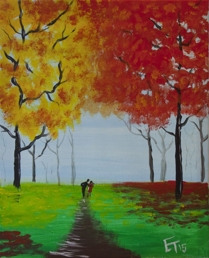 """Fall Couple"" Painting available for parties at iPaint Parties"