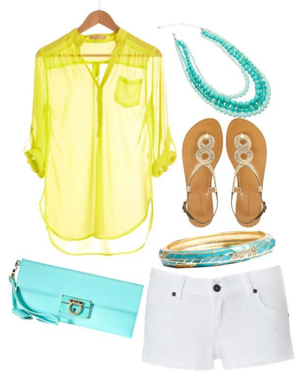 Yellow & AquaBlouses, Colors Combos, Weekend Wear, Colors Combinations, At The Beach, Cute Summer Outfits, Summer Colors, Aquamarine, Dreams Closets