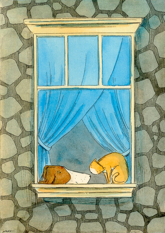 Original 5x7 Painting -- Window friends. via Etsy.