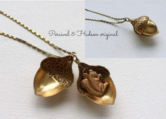 Large Acorn Necklace Squirrel Necklace Acorn by PERCIVALandHUDSON