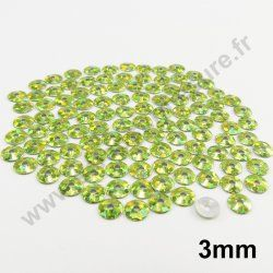 Sequin thermocollant rond - VERT POMME HOLOGRAMME - 3mm - x 150