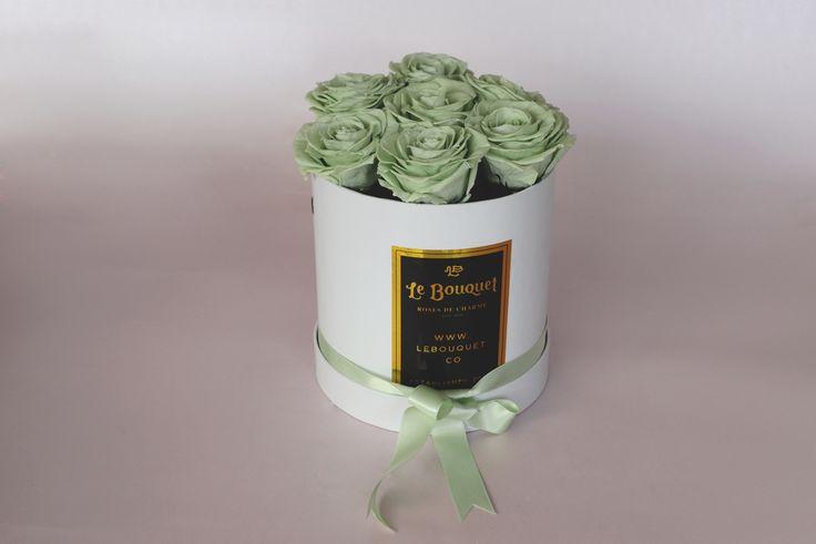 Presentación por 7 rosas premium verde menta que duran 1 año Le Bouquet