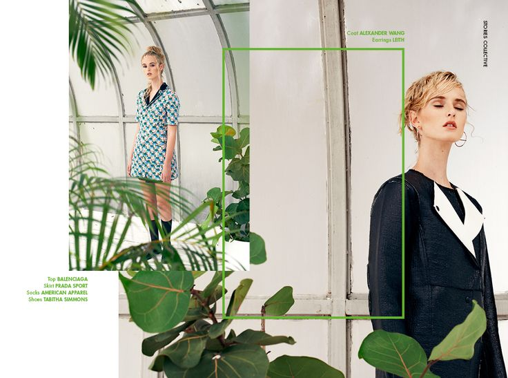 Stories Collective / The Greenhouse / photographer Lucie Hungary / styling Stefanie del Papa / make up Crystal Gossman / hair Heather Blaine / model Gabby at Ford Models / design Sabyie Knudsen #editorial #fashion #layout #design #plants #greenhouse #photography