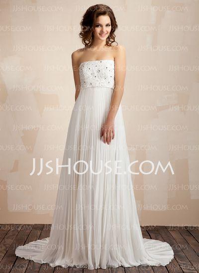Wedding Dresses - $107.79 - A-Line/Princess Strapless Sweep Train Chiffon Wedding Dresses With Ruffle Beadwork (002011587) http://jjshouse.com/A-Line-Princess-Strapless-Sweep-Train-Chiffon-Wedding-Dresses-With-Ruffle-Beadwork-002011587-g11587