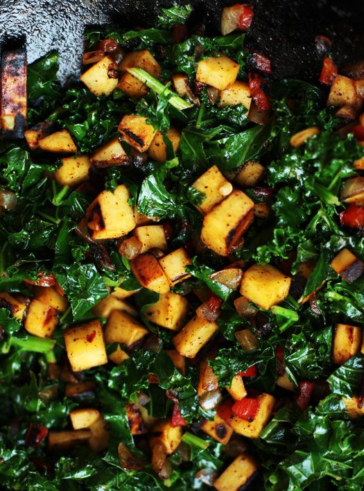 Sue: Sweet Potato-Kale Hash - vegetarian awesomeness... add egg on top for breakfast, serve as a side for the meat-eaters