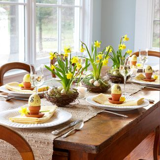 With daffodils sprouting from grapevine birds' nests, an Easter table becomes a spring sanctuary. Repot the plants — bulbs and all — in the nests; cover the dirt with dried grass and mini eggs. Finally, arrange along a rough-hewn runner.