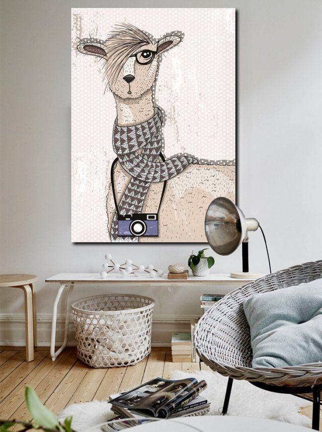 Obraz Hipsterska Lama 70 x 100 x 2