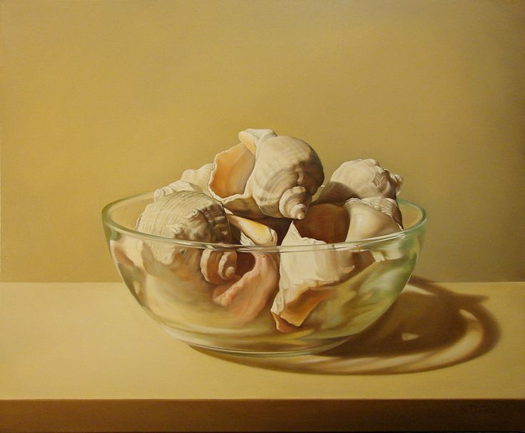 ,,Shells''-oil on canvas-61x50cm Painting by artist Florentin Vesa