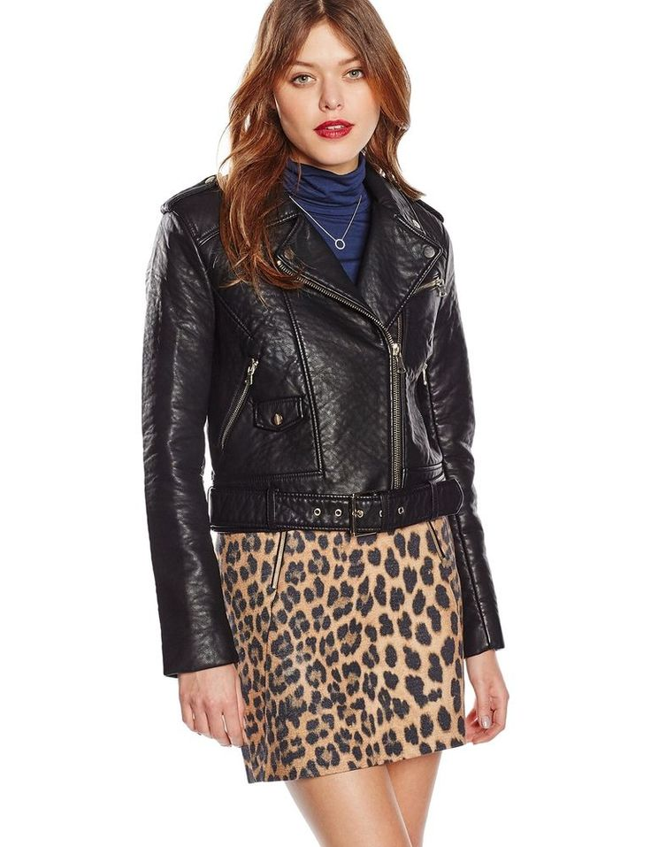 FRENCH CONNECTION WOMENS FAUX LEATHER ZIP LADIES BIKER JACKET BLACK SIZES 6-16