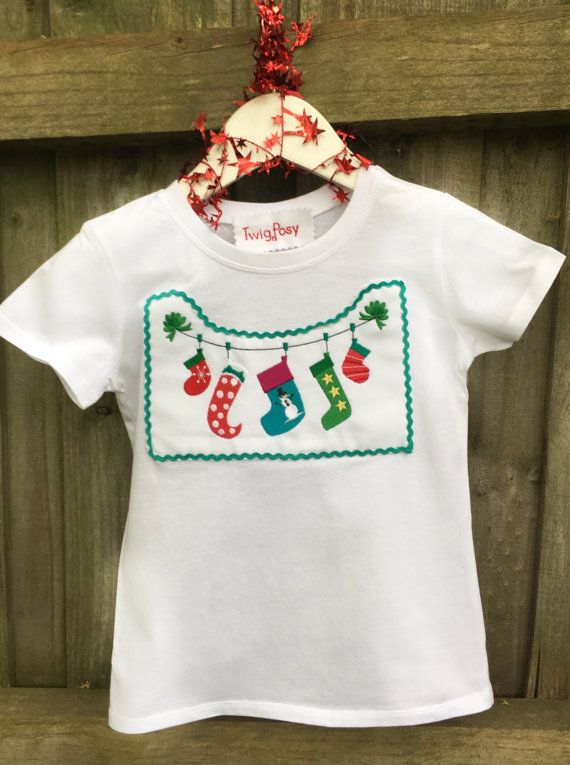 Christmas stocking t-shirt/Christmas by TwigandPosy on Etsy