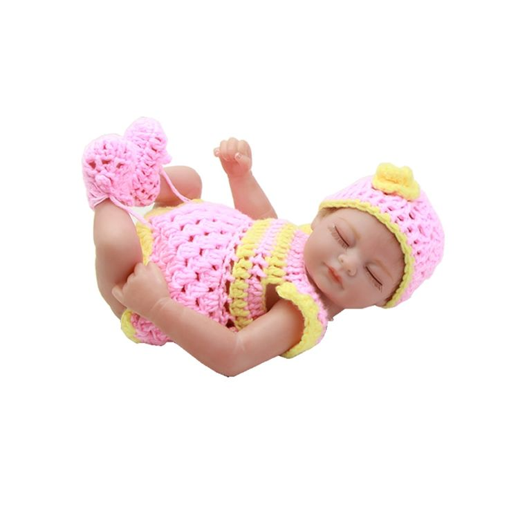 28.07$  Buy here  -  Boneca Reborn 11 Inch Reborn Silicone Baby Dolls Full Soft Vinyl Sleeping Newborn Babies With Rooted Mohair For Collection