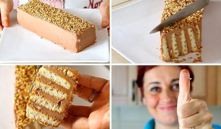 MATTONCINO DOLCE DI BENEDETTA Ricetta Facile Senza Cottura – Nutella Brick Cake Easy Recipe