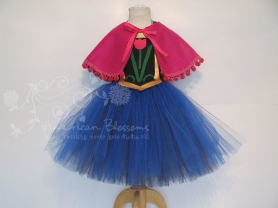 anna costume tutu dress cape girls toddler by americanblossoms 5200 - Halloween Anna Costume