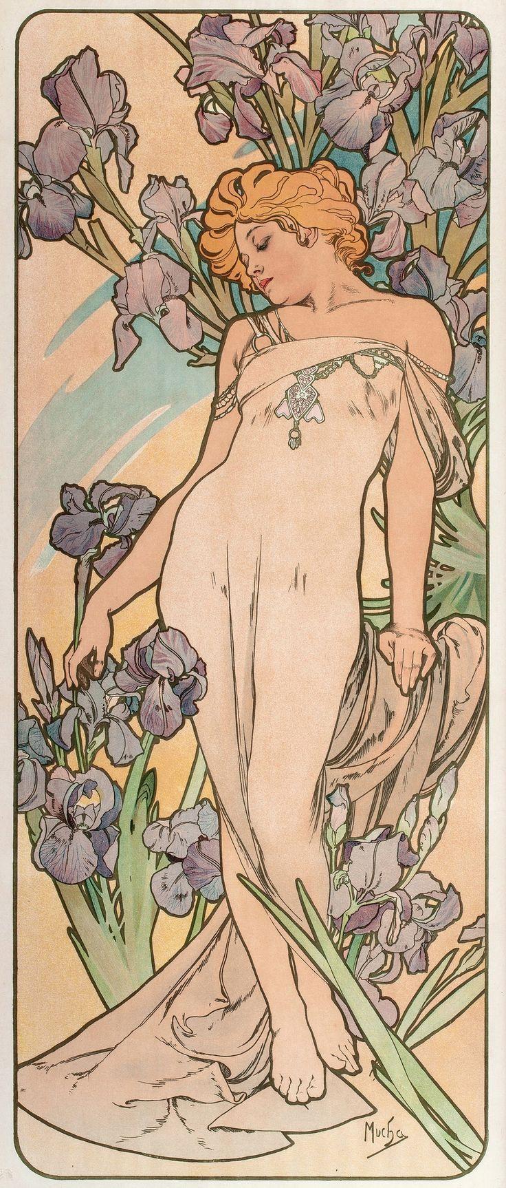 Alphonse (Alfons) Mucha - Illustration - Art Nouveau - Les Fleurs: The Iris, 1898.