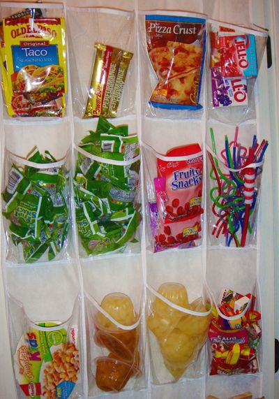 The Stressed Mom.   2. Sarah, THE Money Saving Queen, shared how she used a shoe organizer in her pantry to corral all those packets (I don't have enough hanging space for a shoe organiser, but use small plastic boxes instead),     A Shoe Organiser can also help keep snacks handy for the kids. Her hint: keep the healthier snacks at kid level. -  I especially like that idea.....: