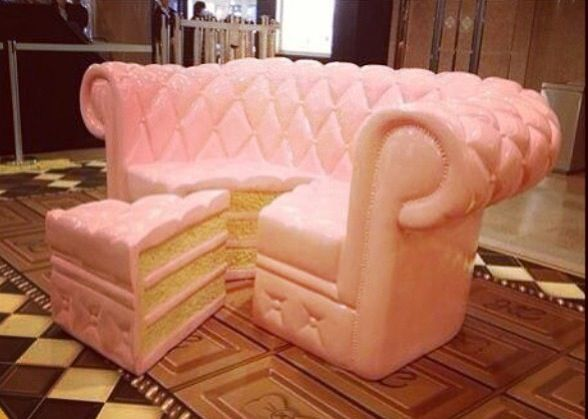 ♡ Pink Cake Sofa Chair and Footstool ♡