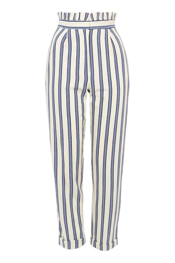 Stripe Ruffle Peg Trousers blue white $75 | Topshop