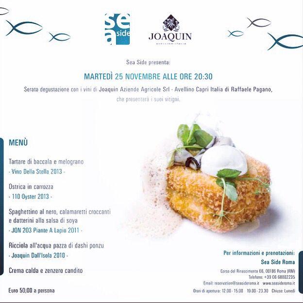 Martedì 25 novembre i vini di #joaquin per una cena degustazione imperdibile!!! Prenotatevi!
