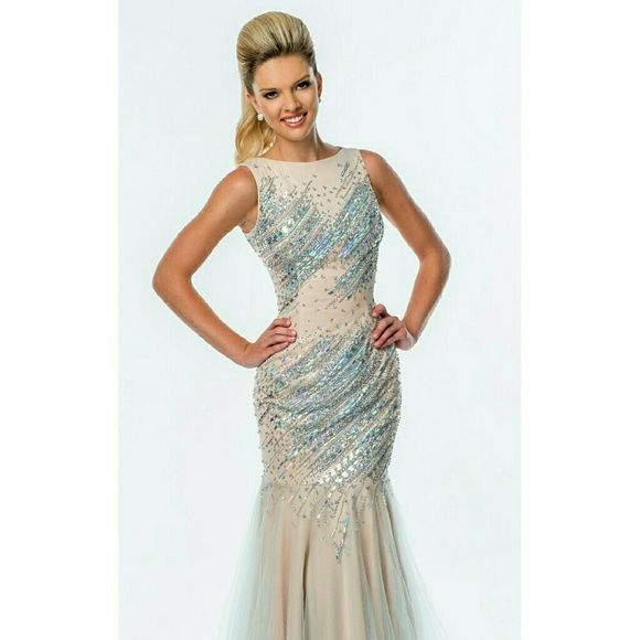 Mermaid beaded gown Beautiful nude and blue beaded gown. Mermaid fo It. Absolutely gorgeous. Terani Couture Dresses Prom